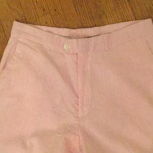 Alan Flusser pink white cotton slacks 10
